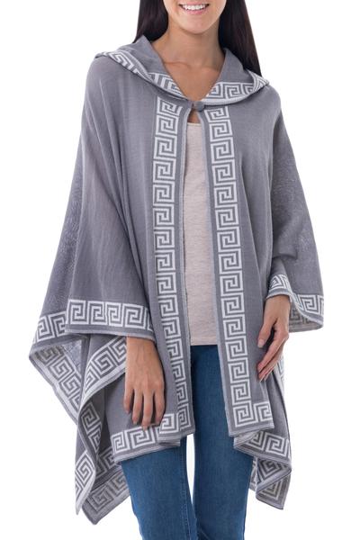 100% alpaca hooded kimono ruana, 'Inca Gray' - Peruvian Alpaca Wool Patterned Wrap Ruana