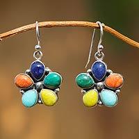 Gemstone flower earrings, 'Andean Bouquet' - Artisan Crafted Women's Sterling Silver Dangle Earrings