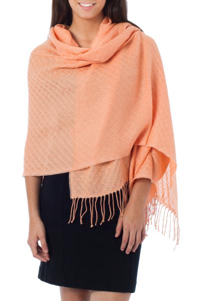 100% alpaca shawl, 'Peaches' - Pure Alpaca Wool Shawl