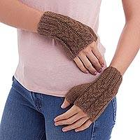 100% alpaca fingerless mitts, 'Andean Earth' - 100% alpaca fingerless mittens