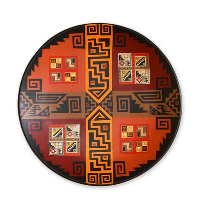 Cuzco plate, 'Inca Wisdom' - Collectible Cuzco Ceramic Decorative Plate from Per