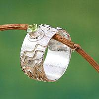 Peridot single stone ring, 'Inca Paths' - Sterling Silver and Peridot Band Ring