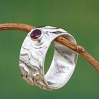 Garnet single stone ring, 'Inca Paths' - Unique Peruvian Sterling Silver and Garnet Ring