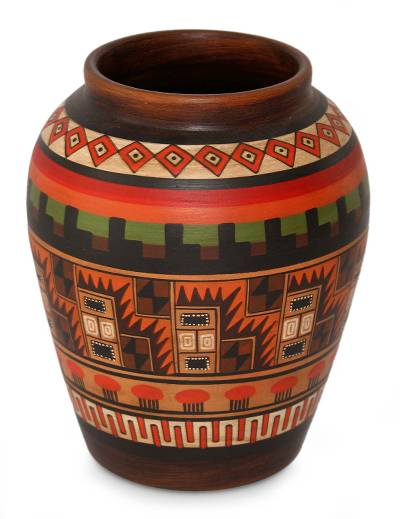 Cuzco decorative vase, 'Inca Geometry' - Cuzco Ceramic Decorative Vase