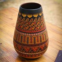 Cuzco decorative vase, 'Inca Art' - Hand Crafted Peruvian Inca Ceramic Vase