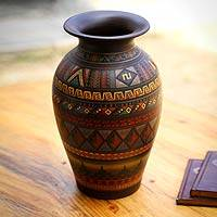 Cuzco decorative vase, 'Tuta' - Handcrafted Inca Ceramic Vase