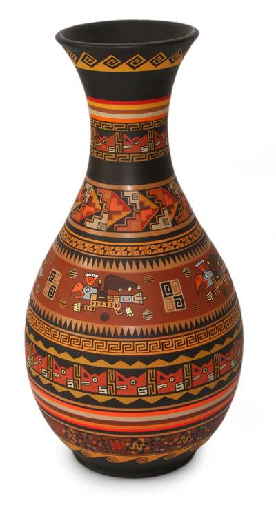 Cuzco decorative vase, 'Awqalli Likrayuq' - Inca Ceramic Bird Decorative Handmade  Vase