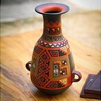 Cuzco decorative vase, 'Inca Aesthetic' - Unique Cuzco Ceramic Decorative Vase