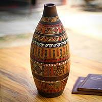 Cuzco decorative vase, 'Inca Heritage' - Cuzco decorative vase