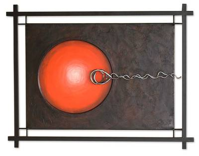 Steel wall art, 'Internal Vitality' - Handcrafted Recycled Metal Steel Wall Art