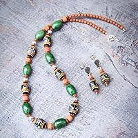 Ceramic jewelry set, 'Andean Forest' - Fair Trade Ceramic Beaded Necklace and Earring Set