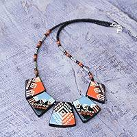 Ceramic pendant necklace, 'Reign of the Inca'