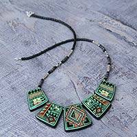 Ceramic pendant necklace, 'Green Andean Hills'