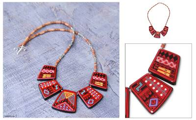 Ceramic beaded necklace, 'Cuzco Feast' - Ceramic beaded necklace