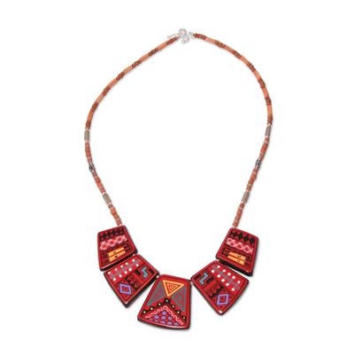 Ceramic beaded necklace, 'Cuzco Feast' - Ceramic beaded necklace