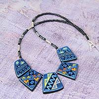 Ceramic beaded necklace, 'Inca Damsel'