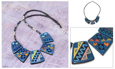 Ceramic beaded necklace, 'Inca Damsel' - Unique Ceramic Beaded Necklace