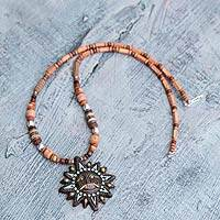 Ceramic beaded necklace, 'Benevolent Inti' - Ceramic beaded necklace