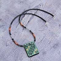 Ceramic beaded necklace, 'Chahuaytire' - Handcrafted Ceramic Pendant Necklace