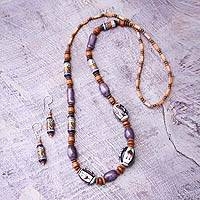 Ceramic beaded jewelry set, 'Purple Inca'