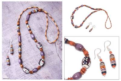 Ceramic beaded jewelry set, 'Purple Inca' - Ceramic beaded jewellery set