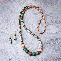 Ceramic beaded jewelry set, 'Green Inca' - Hand Crafted Ceramic Beaded jewellery Set