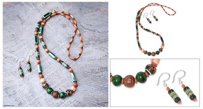 Ceramic beaded jewelry set, 'Green Inca' - Hand Crafted Ceramic Beaded jewellery Set