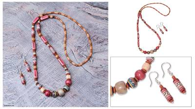 Ceramic beaded jewelry set, Rose Inca