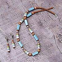Ceramic beaded jewelry set, 'Cuzco Skies' - Artisan Crafted Ceramic Beaded jewellery Set
