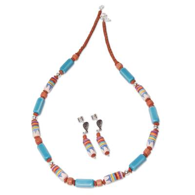 Artisan Crafted Ceramic Beaded Jewelry Set