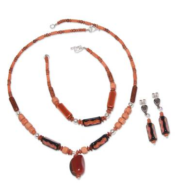 Ceramic and carnelian beaded jewelry set