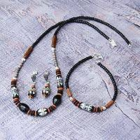 Ceramic beaded jewelry set, 'Inca Empire' - Ceramic Bracelet Earrings and Necklace Jewelry Set