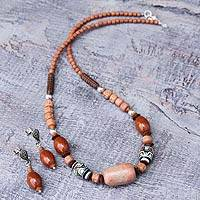 Ceramic beaded jewelry set, 'Inca Energy' - Handcrafted Ceramic Beaded Jasper jewellery Set