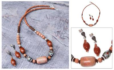 Ceramic beaded jewelry set, 'Inca Energy' - Handcrafted Ceramic Beaded Jasper Jewelry Set