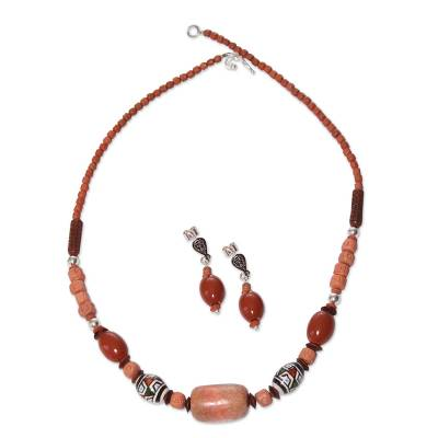 Handcrafted Ceramic Beaded Jasper Jewelry Set