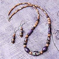 Ceramic beaded jewelry set, 'Inca Tulip' - Unique Ceramic Beaded jewellery Set