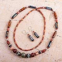 Ceramic beaded jewelry set, 'Inca Colors'