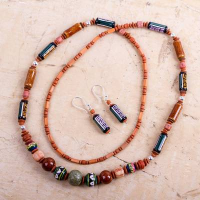 Ceramic beaded jewelry set, 'Inca Colors' - Ceramic beaded jewellery set