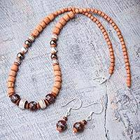 Ceramic beaded jewelry set, 'Festive Inca' - Ceramic beaded jewelry set