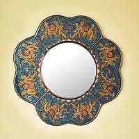 Reverse painted glass mirror, 'Blue Cajamarca Blossom' - Andean Reverse Painted Glass Blue Floral Wall Mirror