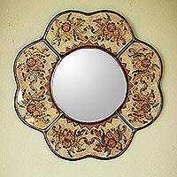 Reverse painted glass mirror, 'Iridescent Cajamarca Blossom' - Hand Made Reverse Painted Glass Mirror from Peru