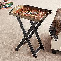 Reverse painted glass folding tray table, 'Scarlet Delight' - Handmade Reverse Painted Glass Wood Glass Folding Table