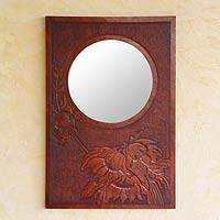 Leather mirror, 'Floral Awakening' - Leather mirror