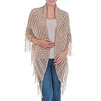100% alpaca shawl, 'Andean Beige' - Alpaca Wool Artistically Hand Crocheted Shawl