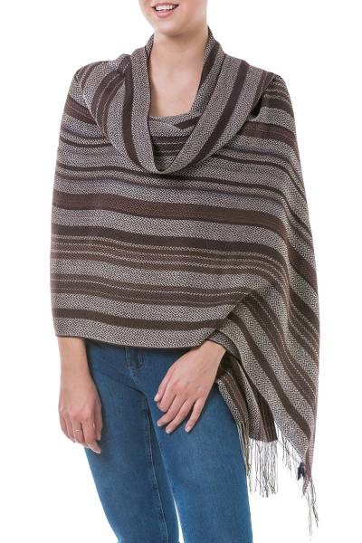 Alpaca and silk blend shawl, 'Coffee Plantation' - Handmade Alpaca Wool Silk Blend Striped Shawl