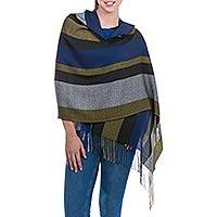 Alpaca and silk blend shawl, 'Far Horizon' - Handcrafted Alpaca Wool Blend Striped Shawl from Peru