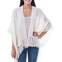Alpaca blend shrug, 'White Winter Clouds' - Peruvian Womens Alpaca Wool Shrug