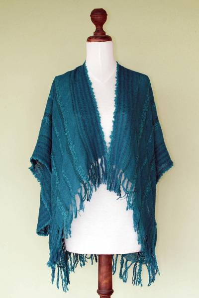 Alpaca blend shrug, 'Turquoise Tonalities' - Alpaca Wool Striped Wrap Ruana