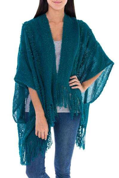 Alpaca blend shrug, 'Turquoise Tonalities' - Alpaca Wool Striped Wrap Ruana