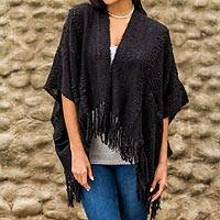 Alpaca blend kimono jacket, 'Miraflores Midnight' - Alpaca blend short layering jacket